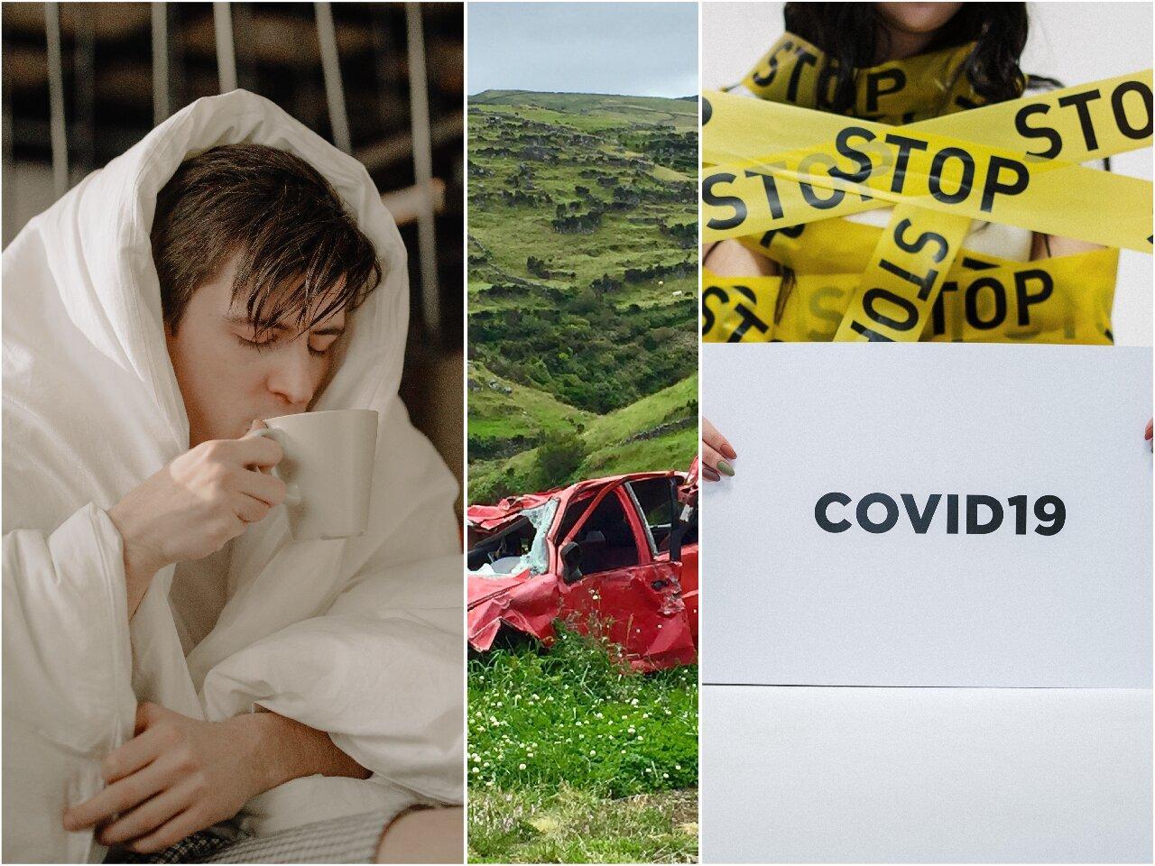 influenza, covid, autóbaleset