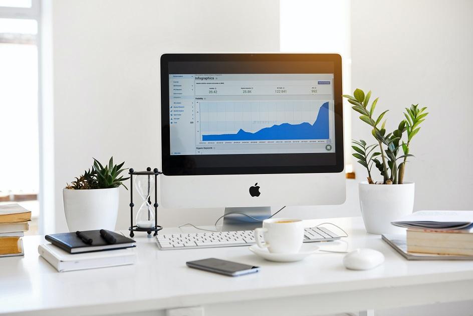 mac, asztali gép, kávé, diagram, statisztika