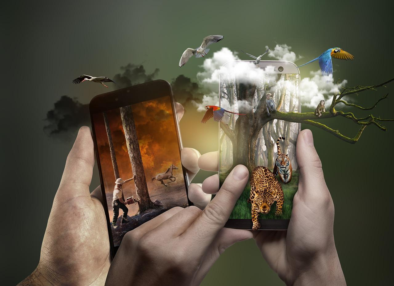 okostelefon, mobil, vadon, állatok