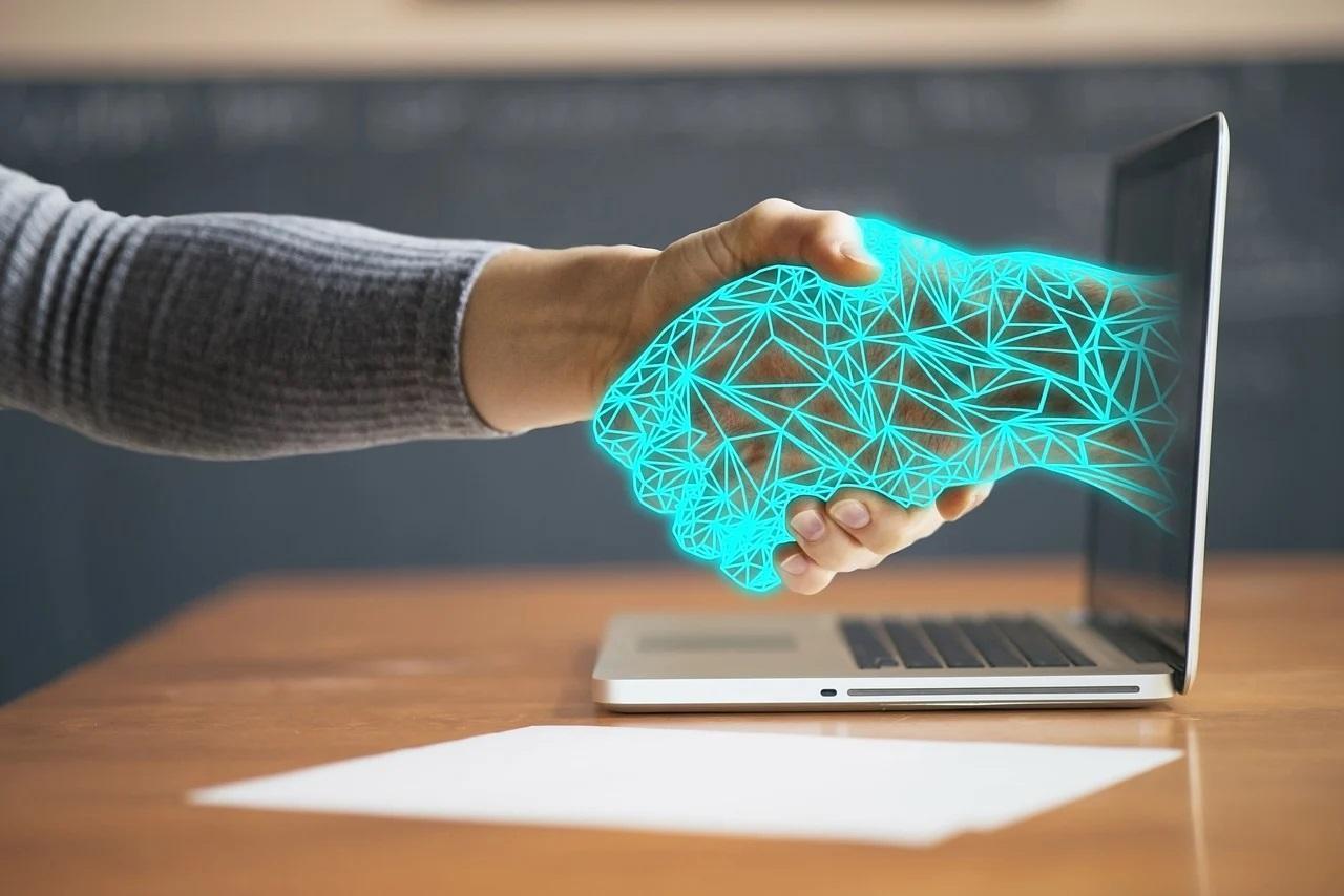 innováció, laptop, kézfogás, digitális