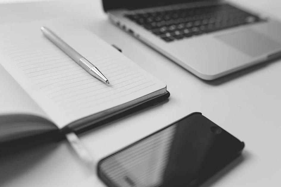 jegyzetfüzet, toll, mobil, laptop